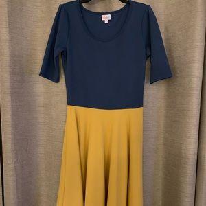 Lularoe dress blue on top, mustard yellow skirt